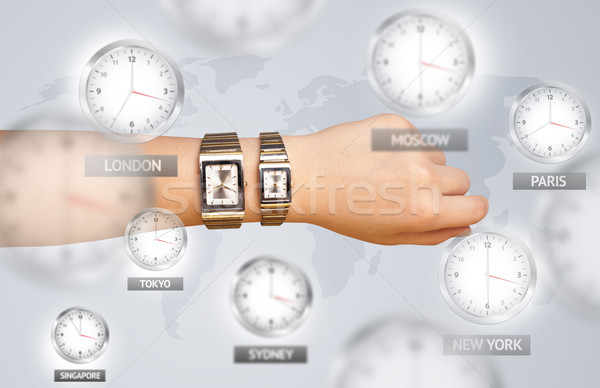 Clocks and time zones over the world concept Stock photo © ra2studio