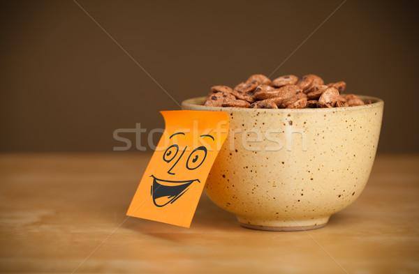 Nota rosto sorridente cereal tigela papel Foto stock © ra2studio