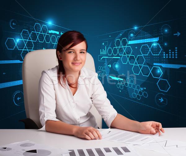 Empresária papelada futurista jovem escritório papel Foto stock © ra2studio