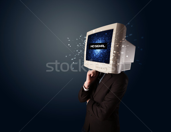 Hombre supervisar cabeza no senal signo Foto stock © ra2studio