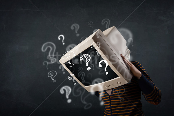 Casual woman with a pc monitor head question marks comming out Stock photo © ra2studio