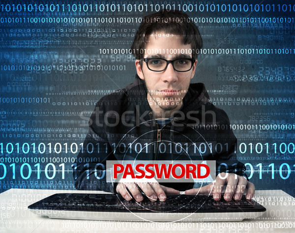 Young geek hacker stealing password  Stock fotó © ra2studio