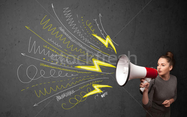 Cute girl shouting into megaphone with hand drawn lines and arro Stock photo © ra2studio