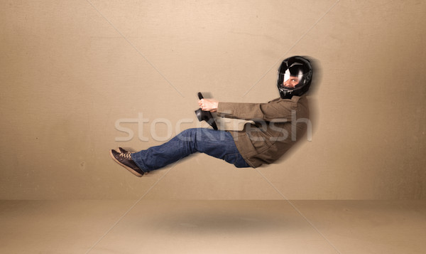 Gelukkig grappig man rijden vliegen auto Stockfoto © ra2studio