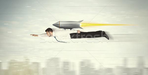 Superhero деловой человек Flying Jet Pack ракета Сток-фото © ra2studio
