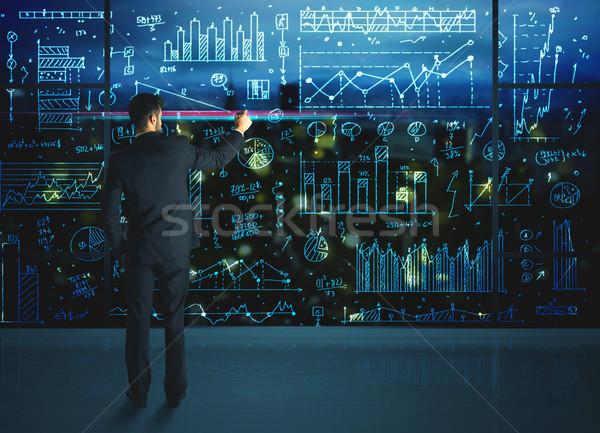 Dibujo empresario estadística negocios vidrio pared Foto stock © ra2studio