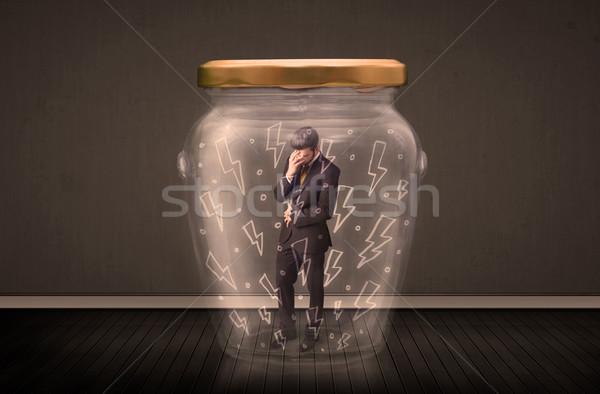 Affaires à l'intérieur verre jar foudre dessins Photo stock © ra2studio