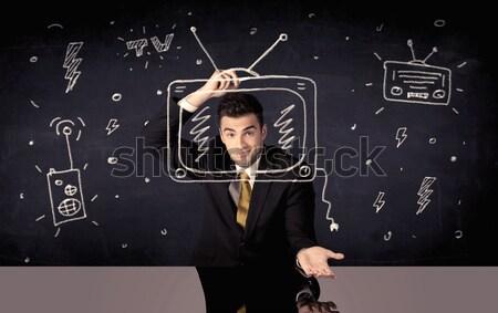 Glücklich Geschäftsmann Zeichnung Radio eleganten Stock foto © ra2studio