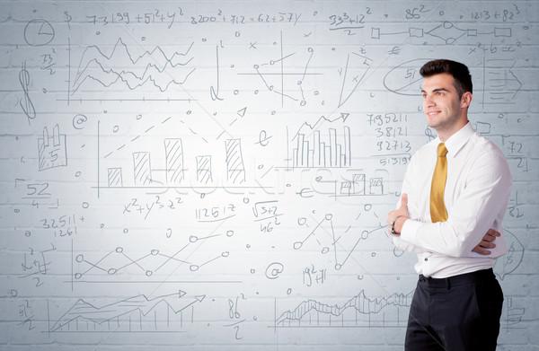 セールスマン 立って グラフ チャート 小さな ストックフォト © ra2studio