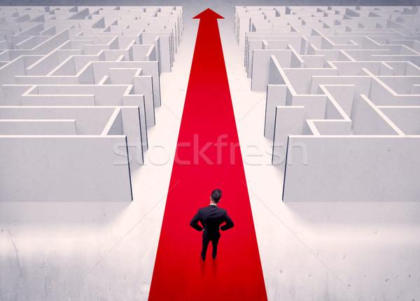 Smart businessman avoiding maze concept Stock photo © ra2studio