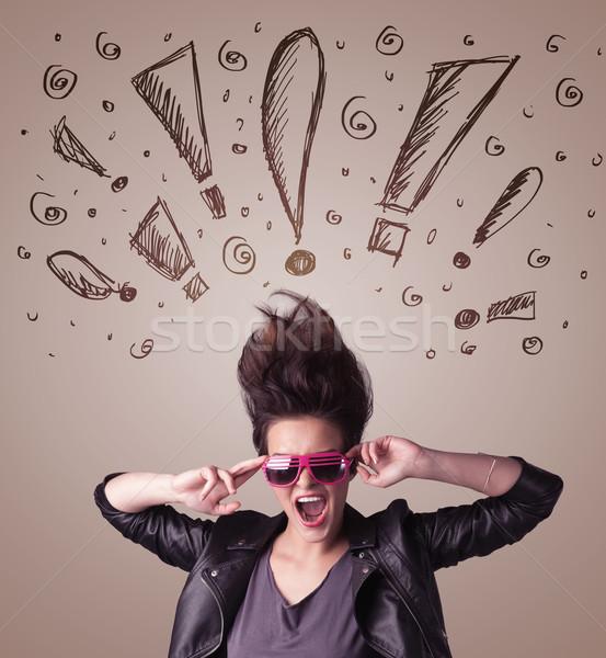 Frisur Hand gezeichnet Zeichen Haar Gesundheit Stock foto © ra2studio