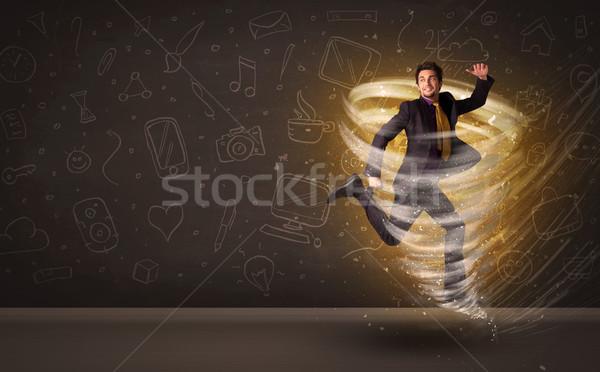 Gelukkig zakenman springen tornado bruin business Stockfoto © ra2studio