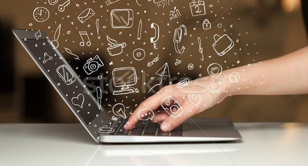 Laptop-Computer Hand gezeichnet Symbole Symbole Telefon Mann Stock foto © ra2studio
