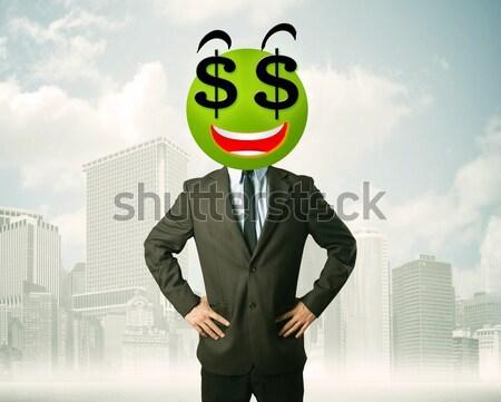 man with dollar sign smiley face Stock photo © ra2studio