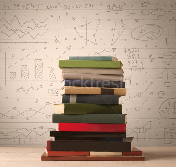 Köteg könyvek matematika képletek írott firka Stock fotó © ra2studio