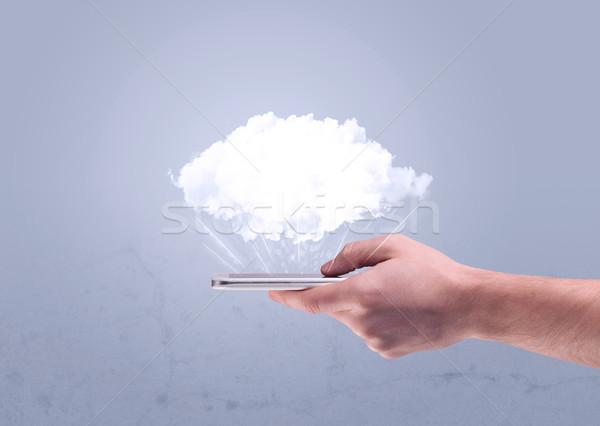 стороны телефон пусто облаке мужчины Сток-фото © ra2studio
