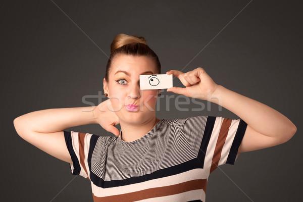 Jeunes stupide fille regarder dessinés à la main oeil Photo stock © ra2studio