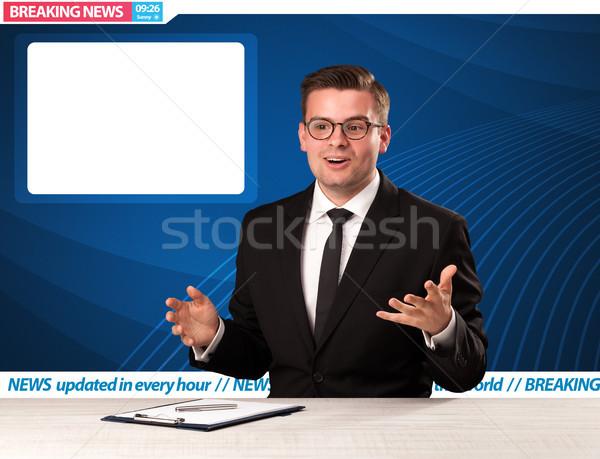Televízió riporter rendkívüli hírek stúdió asztal copy space Stock fotó © ra2studio
