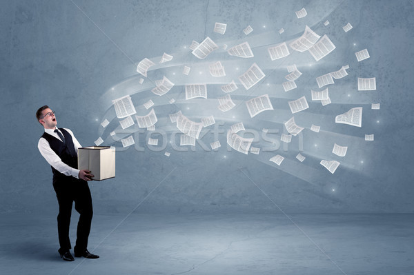 Business papers flying from box Stock photo © ra2studio