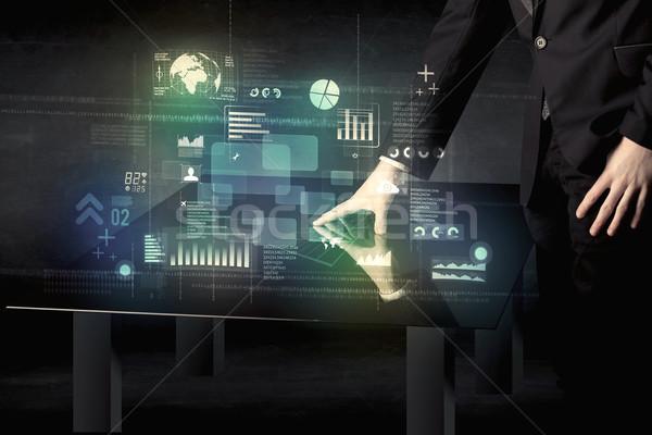 Işadamı dokunmak interaktif modern büro teknoloji Stok fotoğraf © ra2studio