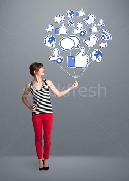 Stockfoto: Mooie · vrouw · sociale · icon · ballon · jonge
