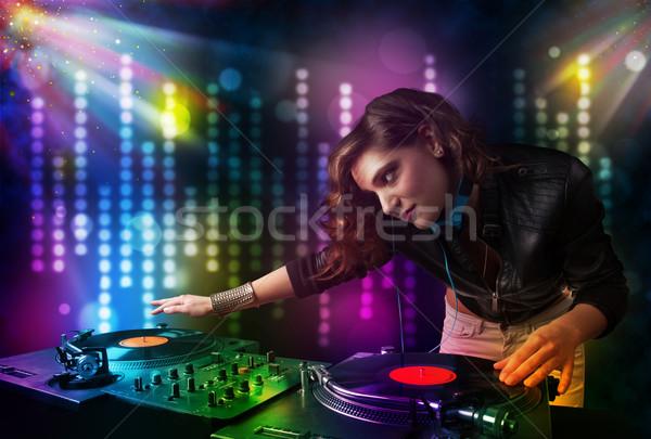 Lány játszik diszkó fény előadás csinos Stock fotó © ra2studio