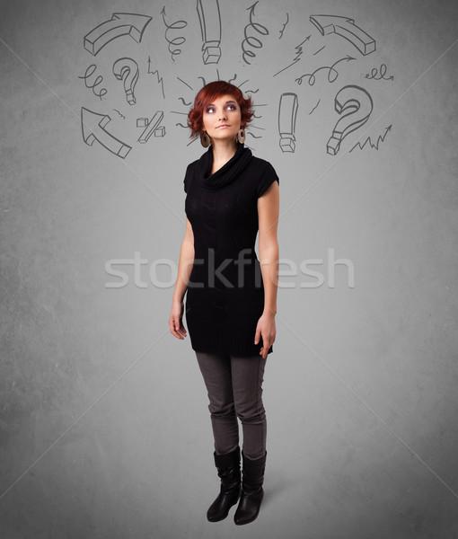 Sevimli genç kız soru imzalamak karalamalar eğim Stok fotoğraf © ra2studio
