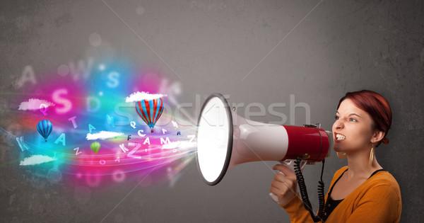 Aranyos lány kiált megafon absztrakt szöveg Stock fotó © ra2studio
