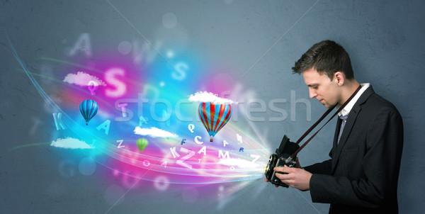 красивый фотограф камеры аннотация мнимый молодые Сток-фото © ra2studio