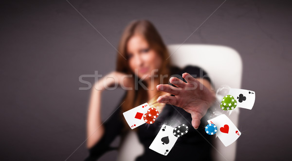 Jugando póquer tarjetas chips bastante Foto stock © ra2studio