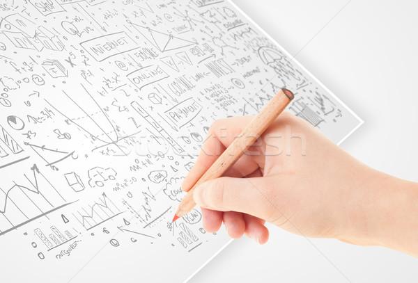 Foto stock: Mão · humana · idéias · branco · papel · múltiplo · negócio