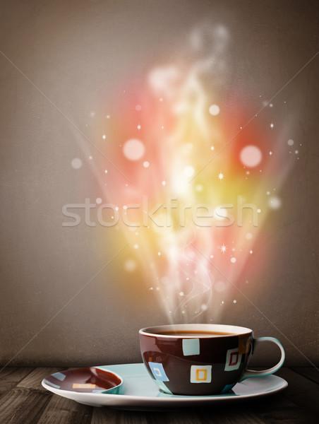 Kahve kupa soyut buhar renkli ışıklar Stok fotoğraf © ra2studio