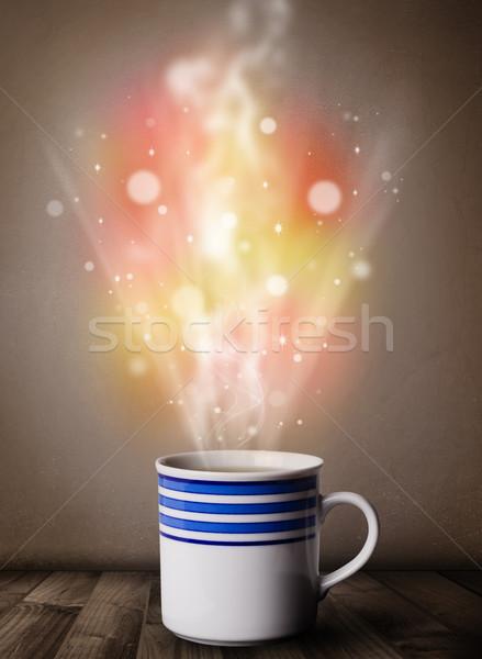 コーヒーマグ 抽象的な 蒸気 カラフル ライト ストックフォト © ra2studio