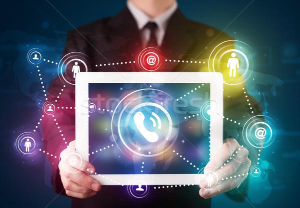 ストックフォト: 小さな · ビジネスマン · 社会 · ネットワーク · 技術
