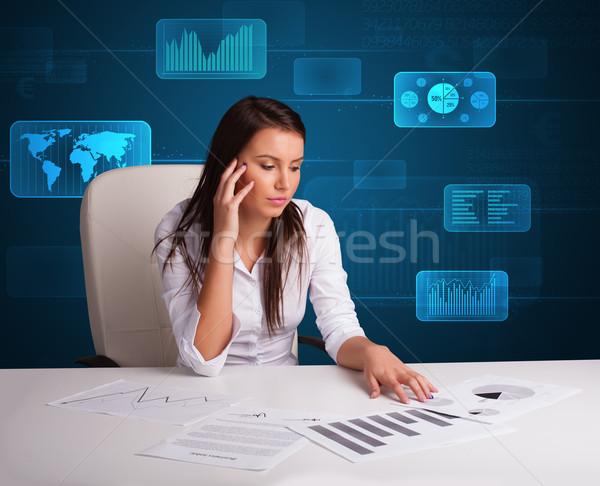 女性実業家 書類 デジタル 未来的な オフィス 紙 ストックフォト © ra2studio