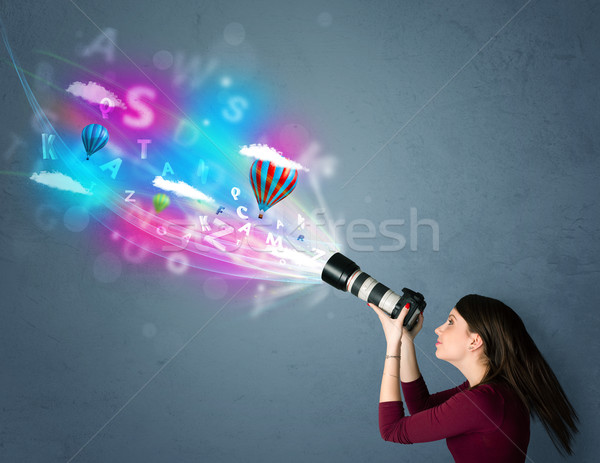 фотограф камеры аннотация мнимый Cute девушки Сток-фото © ra2studio