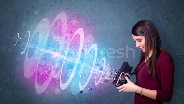 Stock fotó: Fotós · lány · készít · fotók · erőteljes · fény
