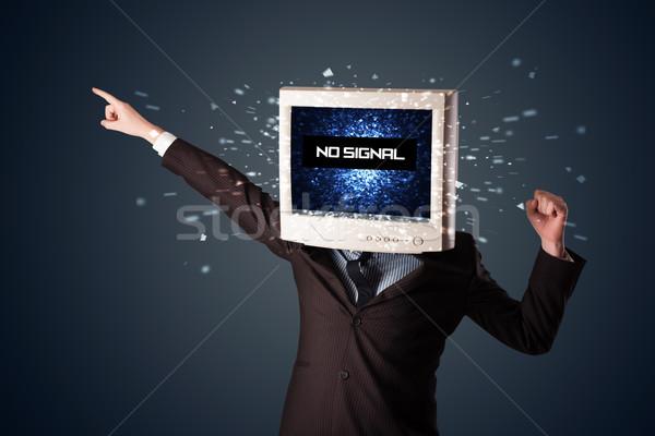 Homme suivre tête pas signal signe Photo stock © ra2studio