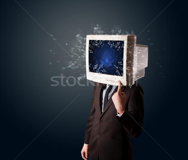 Компьютерный монитор экране молодые голову компьютер Сток-фото © ra2studio