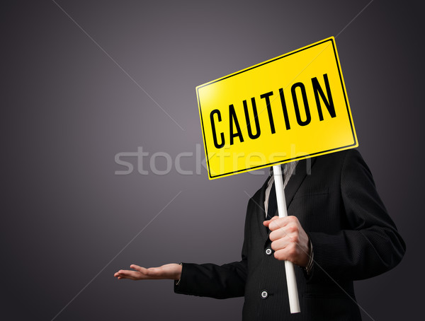 Empresario precaución signo pie amarillo Foto stock © ra2studio