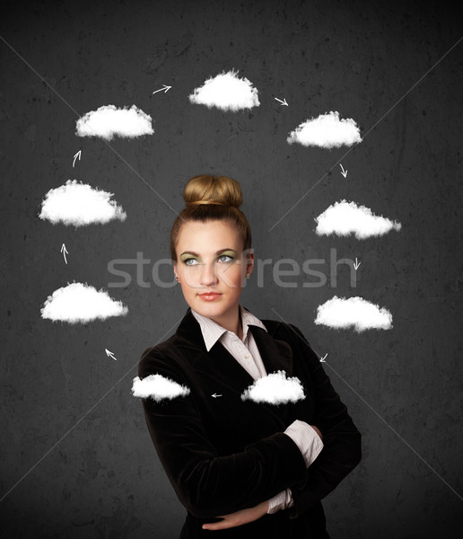 Young woman thinking with cloud circulation around her head Stock photo © ra2studio