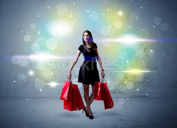 Mall Dame Einkaufstaschen glitter Licht schönen Stock foto © ra2studio