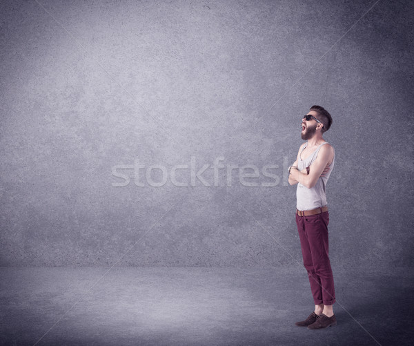 Fashion model shouting in empty space Stock photo © ra2studio