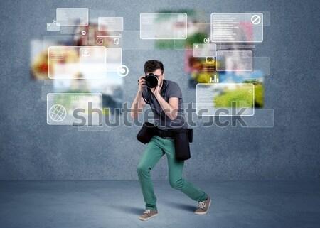 élégant photographe caméra jeunes professionnels Homme Photo stock © ra2studio