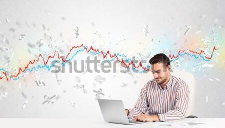 ビジネスマン 座って 表 株式市場 グラフ 3D ストックフォト © ra2studio