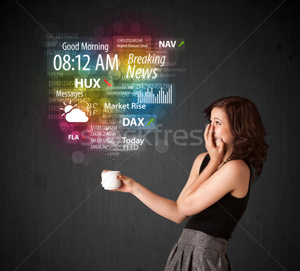 女性実業家 白 カップ 日々 ニュース ストックフォト © ra2studio