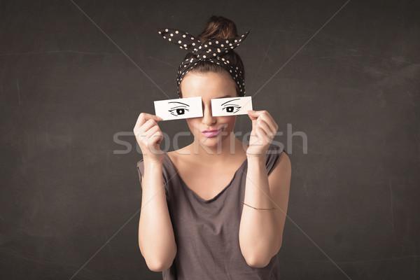 глупый глядя рисованной глаза бумаги Сток-фото © ra2studio