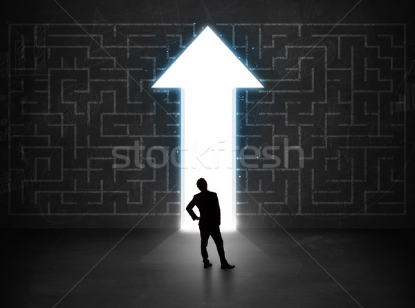 Business person looking at maze with solution arrow on the wall Stock photo © ra2studio