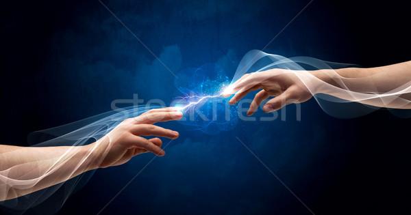 рук пальцы пространстве два мужчины Сток-фото © ra2studio