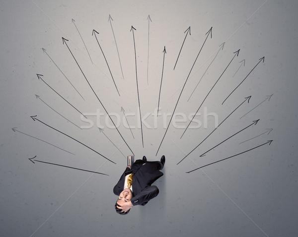 Imprenditore decisione giovani grigio frecce Foto d'archivio © ra2studio